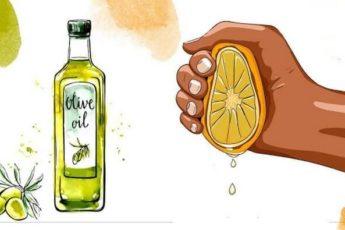 Выжмите 1 лимон и смешайте с 1 столовой ложкой оливкового масла
